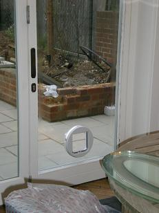 Cat Flap fitted in a double glazed door, Maidstone, Kent