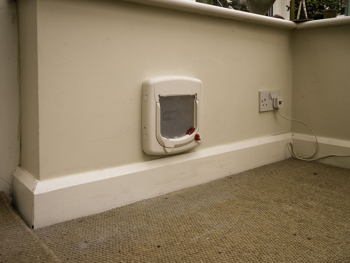Cat Flap Installation in Brick Wall completed